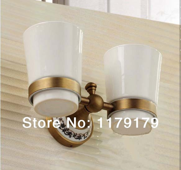 copper antique bathroom cup & tumbler holder, double toothbrush holder bathroom accessories 915 image
