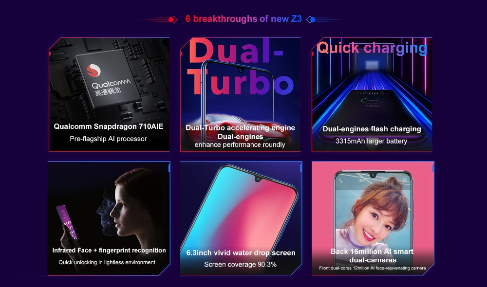Mobile Phone vivo Z3 Snapdragon 710 Octa Core dual camera LTE Android 8 1  4G/6G+64G/128G 6 3