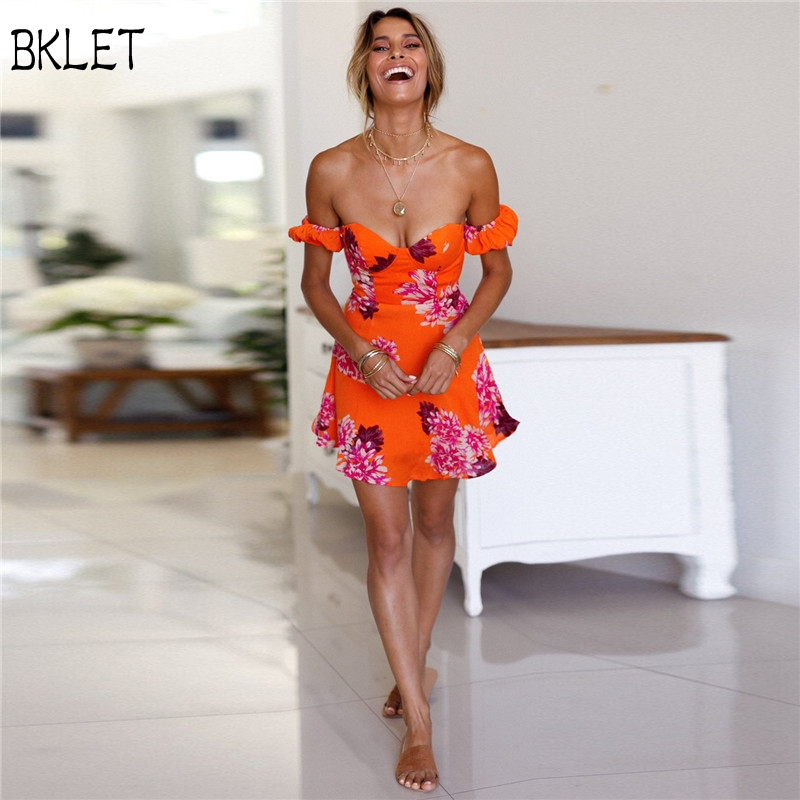 2018 Sexy Wrapped Chest Backless Floral Print Summer <font><b>Dress</b></font> Vintage Wrap Short <font><b>Dresses</b></font> Women <font><b>Orange</b></font> <font><b>Dress</b></font> Vestidos