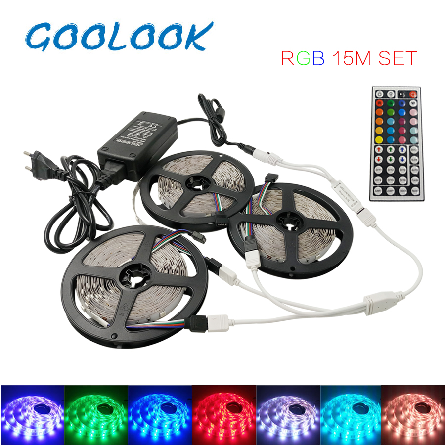 Goolook 5050 RGB LED Strip Light 5m 10m 15m Non Waterproof 30led/m Diode Flexible Tape+IR 44Key Led Controller + Power Supply beilai 5050 rgb led strip waterproof 5m 10m 30led m dc 12v led light strip flexible neon tape with 3a power and 44key remote