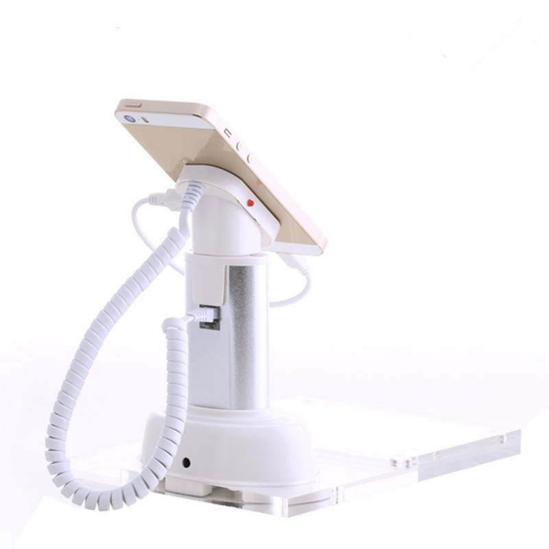 mobile phone retail shop alarm charging security display acrylic price tag remote control holder clear color solid acrylic phone retail store price label display holder advertising leader stand for iphone mobile phone shop