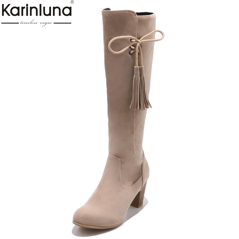Karinluna 2018 PLus Size 31-48 customized high heels fringe riding boots Woman Shoes flock fashion women shoes knee-high Boots динамик сч нч wavecor wf223bd01 01 1 шт