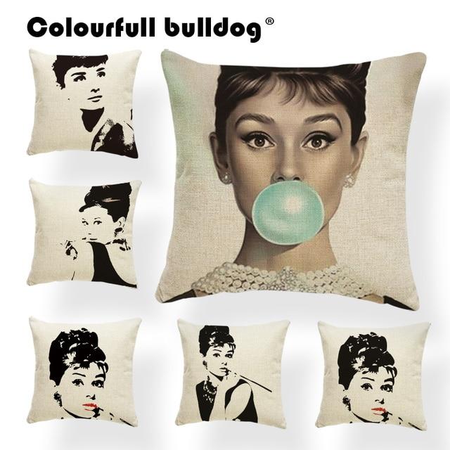 Audrey Hepburn Fodere per Cuscini Rosso Federe Nero Sedia Decorazioni Comics Cop