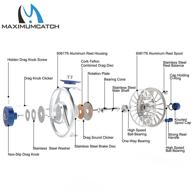 Micro Adjusting Drag Light Weight Aluminium Fly Fishing Reel and Spool