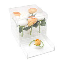 New Clear Acrylic Rose Flower Box With Drawer Makeup Organizer Valentine's Day Wedding Gift Flower Drawer Box With Cover