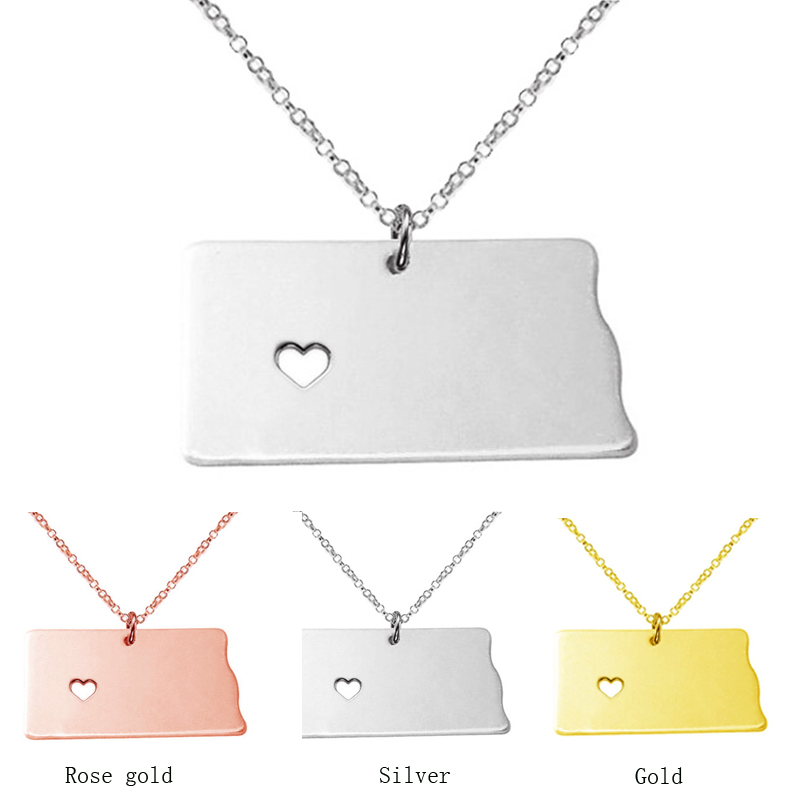 S925 Sliver necklace America North Dakota State Necklaces With Heart DIY Map pendant Necklace Pendent & Necklace CN10