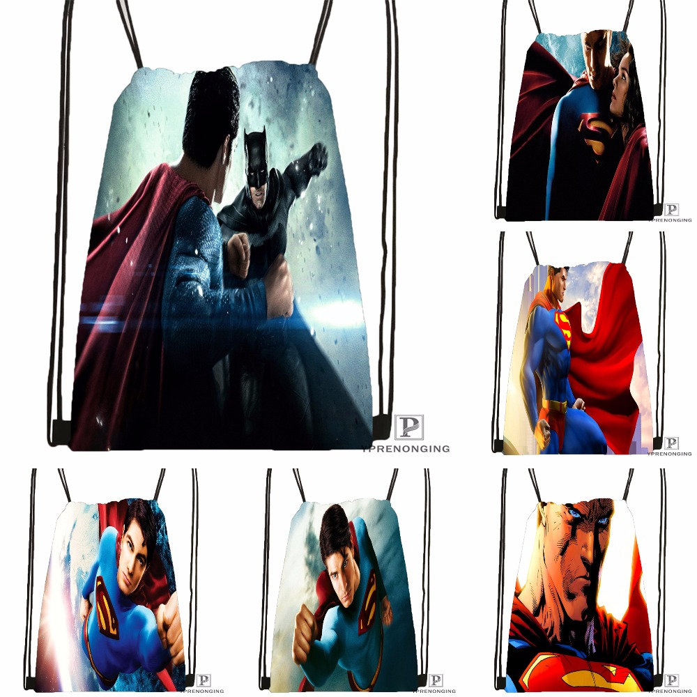 Custom Batman Superman Drawstring Backpack Bag for Man Woman Cute Daypack Kids Satchel Black Back 31x40cm