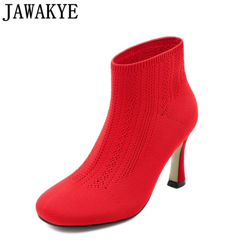 2018 sexy red black Elastic Ankle Boots for Women High Heels Knitted high heels pumps runway wool sock shoes for women new classic flat heels elastic knee high boots for women knitted casaul shoes white black stripe platform sneakers sock shoes