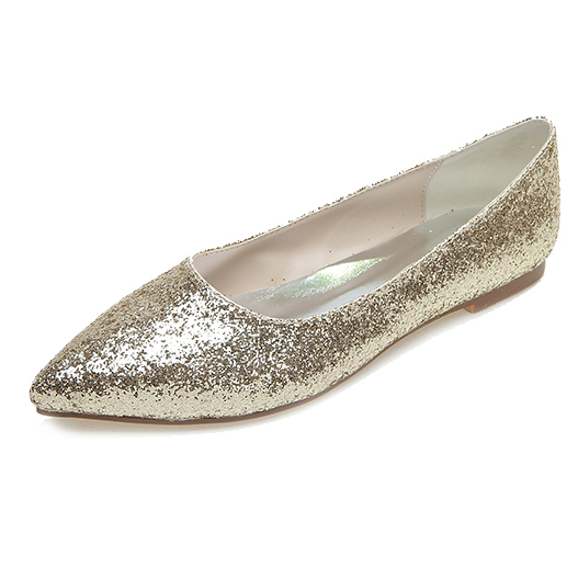 9f30c41968933 US $35.91 10% OFF|Creativesugar gold silver 3D glitter pointed toe flats  woman Casual neutral theme wedding bridal shoes party prom slip on shoes-in  ...