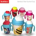 Yookidoo ee.uu. fibra de bambú del pañal del bebé niños de paja cup potable tazas con asas diseño lindo biberón botella con tapa