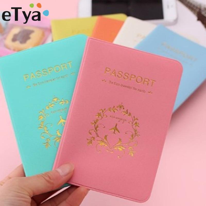 все цены на eTya Passport Cover Russia Travel Leather Women Men Cute Passport Wallet Holder Card Case Bag Travel Accessories онлайн