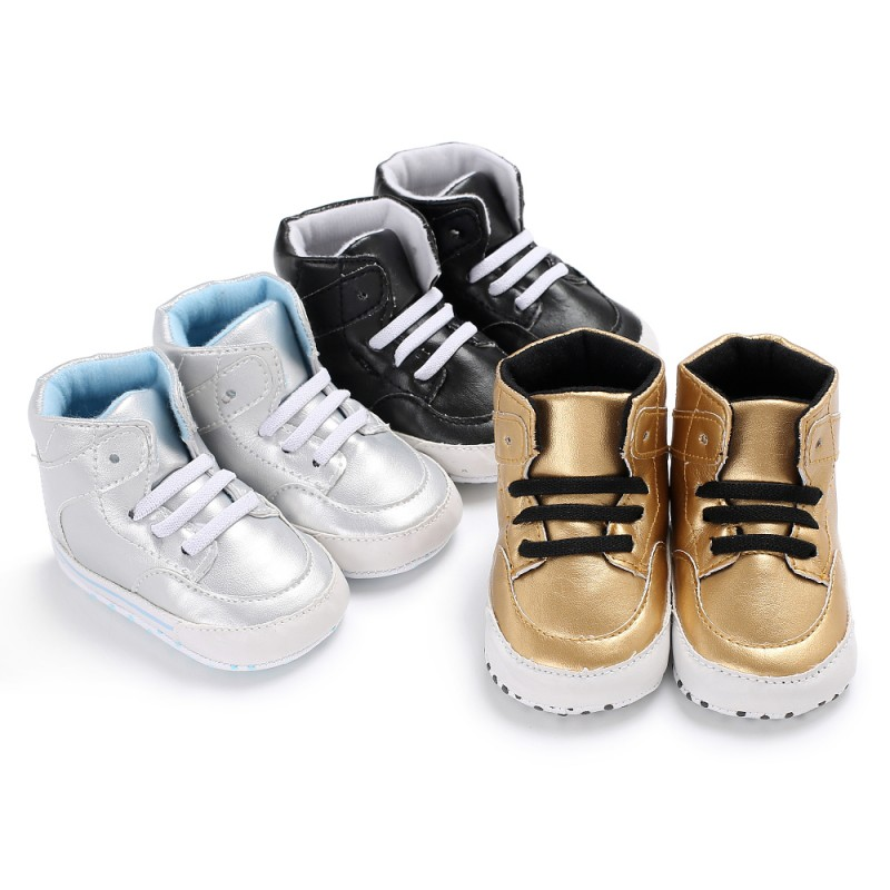 PU First Walker Toddler Baby Boy Lace-Up Shoes Non-slip Moccasins Soft Soled Footwear for Newborn 0-18 monthes Crib Toddler