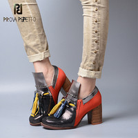 Prova Perfetto Real Leather High Quality Gladiators Shoes Woman Mixed Color Single Shoe Women High Heel Ankle Boots Rivet Tassel