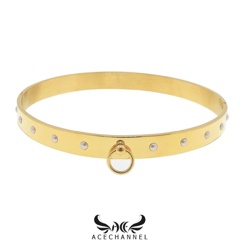 Gepolijst shining rvs choker kraag ketting fetish wear koppel vrouwen sieraden-in Koppels van Sieraden & accessoires op  Groep 1