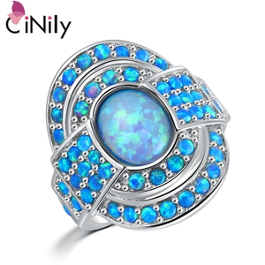 CiNily Vintage Blue Fire Opal Rings With Stone Silver Plated Luxury Large Bohemia BOHO Summer Cocktail Party Fully-Jewelled(China)