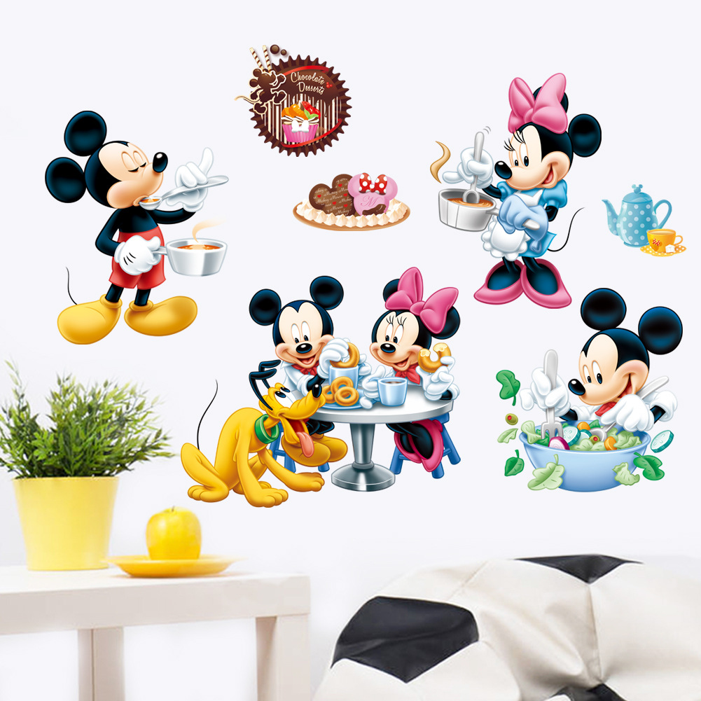 Disney stickers toys for children Mickey cartoon wall stickers children's room creative decorative stickers bedroom painting acoola kids шорты для мальчиков трикотажные с набивным принтом
