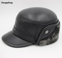 Genuine Leather Adjustable Military Cap Winter Cowhide Windproof Hats For Woman/man Big Discounts