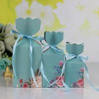 30 Pcs Personality Vase Shape Gift Box Paper Printed Wedding Favors Candy Boxes Party Favors Box Giveaways Box