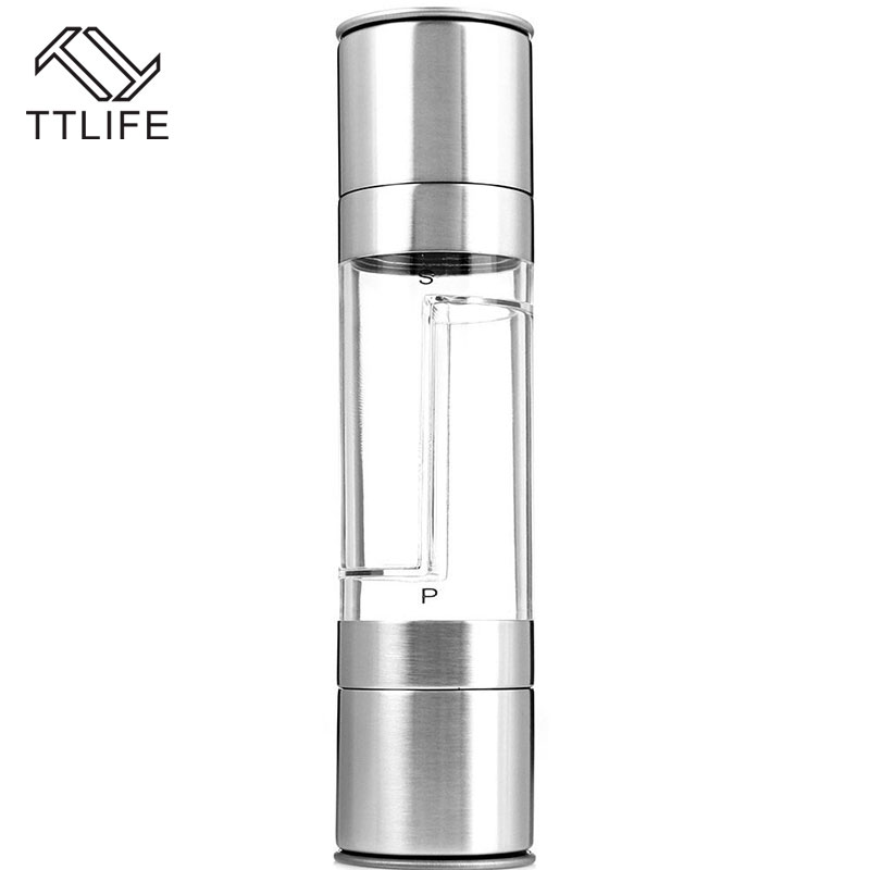 1//2pc Stainless Steel Manual Salt /& Pepper Mill Herb /&Spice Grinder Hand Shaker
