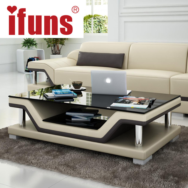 Online Shop IFUNS Simple Modern Fashion Glass Coffee Table Leather - Leather covered coffee table