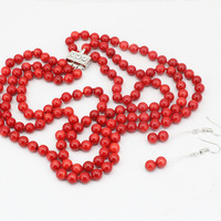 3 rows necklace dangle earrings 7mm natural red coral round beads jewelry set for women weddings gifts Jewellery 17 19 B3455