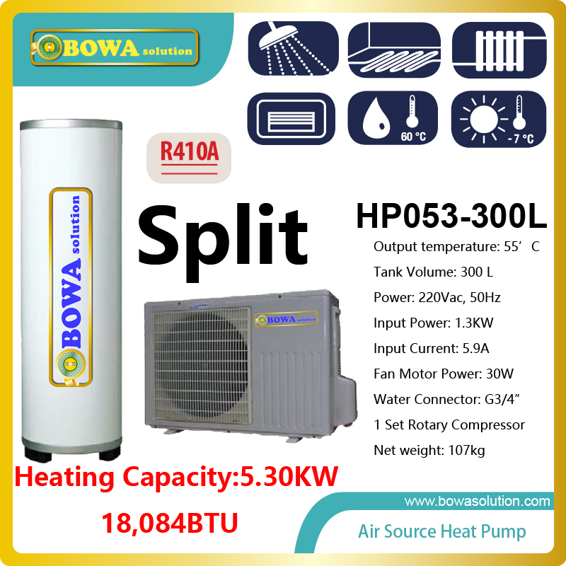 5.3KW split type Hi-COP heat pump water heater with 300L AISI316 tank, please check with us about shipping costs 100 liter solar water heater tank 220v with copper coil with electrical element solar water tank