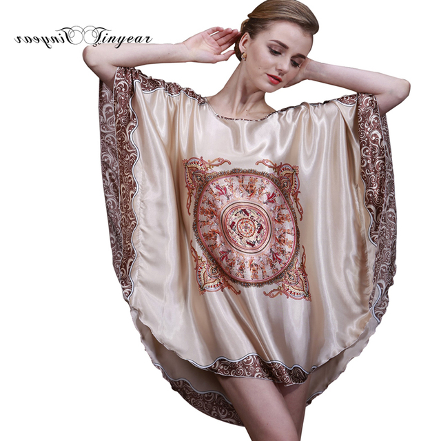 Tinyear 2017 New Summer Style Luxury Women Nightgown Silk Ladies ...