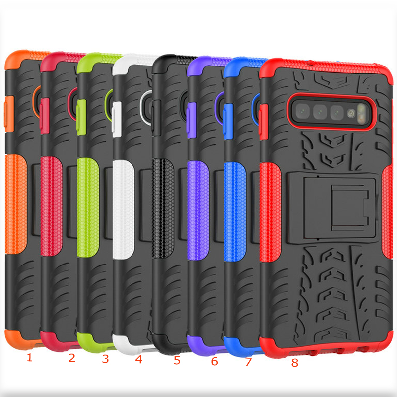50pcs lot For Galaxy S10 Kickstand Baby Safe Tire Shockproof Heavy Duty Detachable Hard Case For