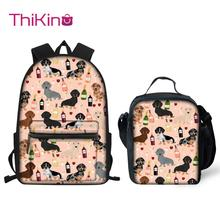 Thikin Dachshund Pattern Students School Bag  Teens Backpack Big Capacity Supplies Package Shoulder Women Mochila