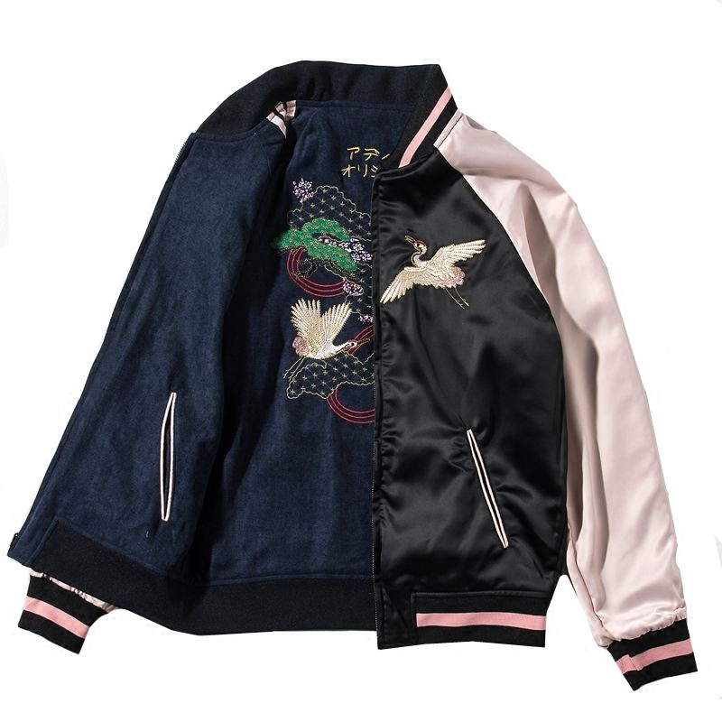 Crane Embroidery Baseball Jacket Women / Men Short Jackets Spring Fall Loose Top Double-sided Wear Ladies Japanese Style Coats