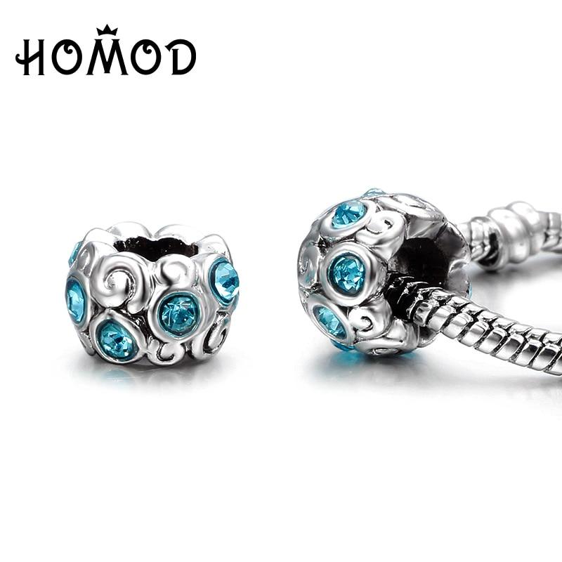 HOMOD Original 1PCS 14 Styles Setting Sky Blue Crysal Floating Charms Beads Fit Pandora Charm Bracelets Woman Elegant Jewelry