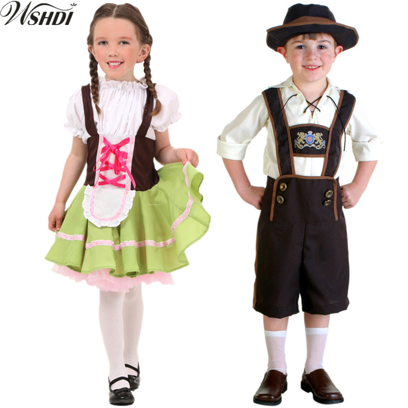 S-XL Boy Girls Children Oktoberfest Beer Festival October Dirndl Beer Maid Peasant Dress German Wench Costume
