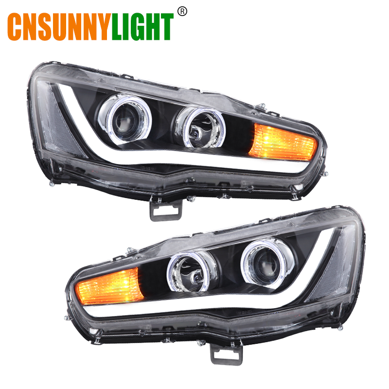CNSUNNYLIGHT For Mitsubishi Lancer 2008 2017 Car Headlight Assembly Case LED DRL Turn Signal Projector Lens