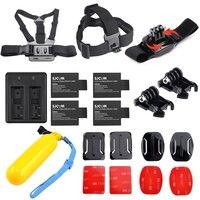 4 x SJCAM sj4000 batteries + Hot accessories kit + dual charger for SJCAM sj5000 plus sj6000 sj7000 camera accessories