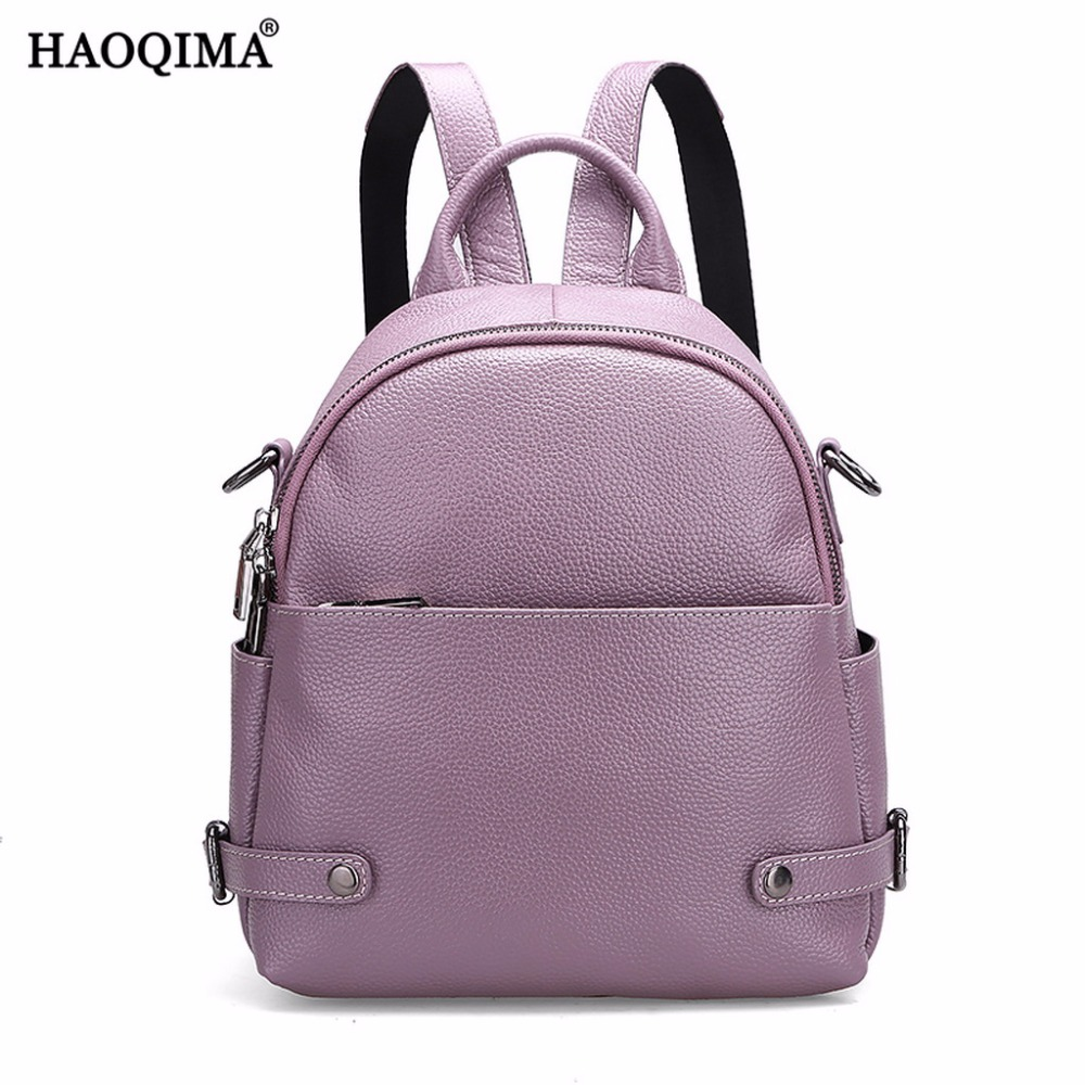 HAOQIMA Backpack Fashion Teenagers Genuine Leather Backpacks Real Cowhide Women Girl Ladies Small Shoulder Bag twenty four women backpacks genuine leather ladies travel backpack for teenagers girls bucket bag vintage real leather mochilas
