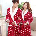 2017 Autumn winter Fleece flannel nightgown Men Women couple bathrobe pajamas lounges homewear clothes thickening robe sleepwear