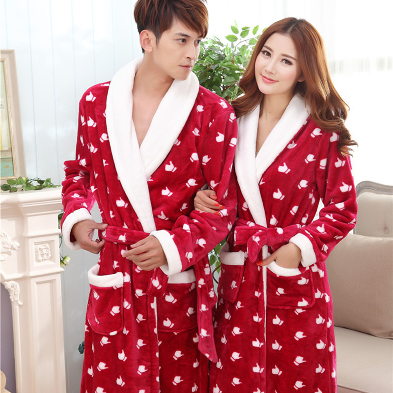 2017 musim gugur musim dingin bulu flanel baju pria wanita pasangan mandi pajamas homewear lounge pakaian
