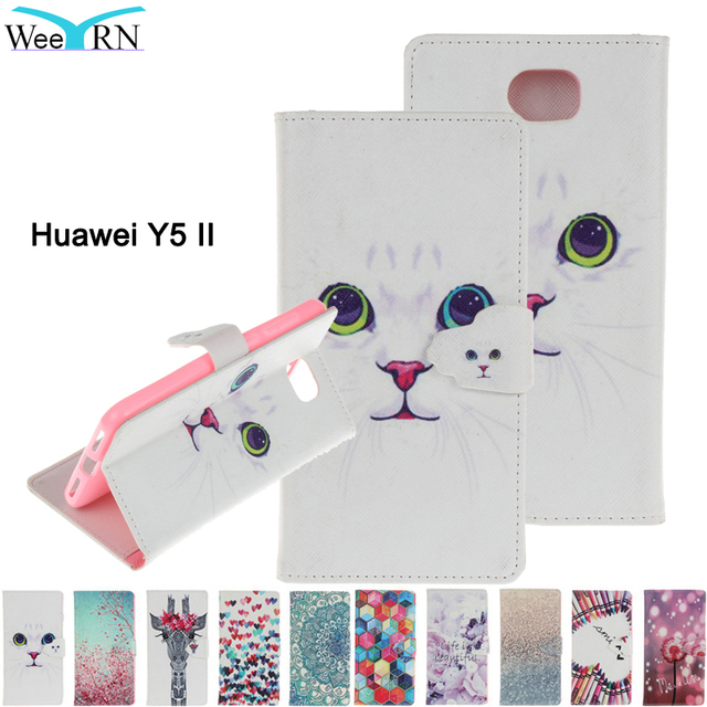 Luxury 3D Leather Wallet Flip Phone case Huawei Y5 II Y5II 2 Cartoon Painted PU+Silicone Back Cover For Huawei Y5 II Funda Coque