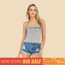 Letter printed sleeveless knit camisole female 2019summer crop top sexy super short paragraph wear slim slimming bottoming shirt