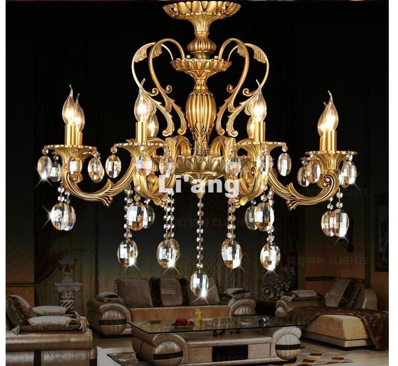Moderne D62cm H65cm Bronze Couleur 6L D65cm K9 Lustre En Cristal Éclairage Luxueux En Laiton Cristal Lampe Lustre AC Lustre Lumières
