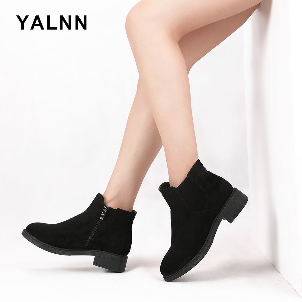 YALNN Women Shoes Winter Boots Rubber Casual Female Chelsea Ankle Plus Size