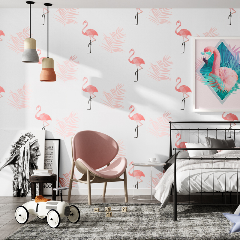 Nordic Pink Flamingo Wall Paper Home Decor Ins Wallpapers for Bedroom Living Room Walls Paper Housemapa