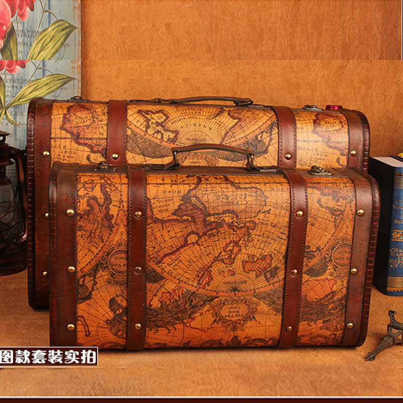 Wooden storage box vintage Map suitcase style Metal Lock box for jewelry book packaging big retro