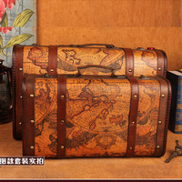 Wooden Storage Box Map Suitcase Vintage Style Metal Lock Box For Jewelry Book Packaging Big Retro
