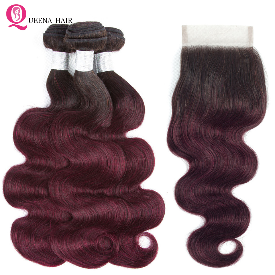 Queena Top Pre-colored Human Hair Ombre Bundles With Closure 1B 99j Red Wine Two Tone Brazilian Body Wave 3 Bundles With Closure