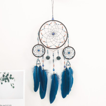 Blue dream catcher wind bell hanging decoration dreamcatcher hand made feather pendant gift room decorat