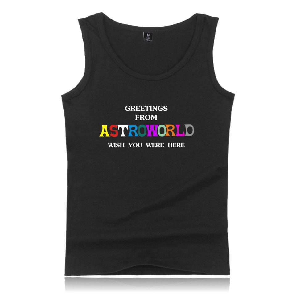 Cotton 2018 Travis Scotts ASTROWORLD   Tank     Top   Women/Men Workout Fashion Harajuku Cotton Hip Hop Casual Sleeveless Vest