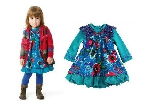 catimini 2013 Free Shipping  autumn children's clothing catimini girls children kids beautiful butterfly long-sleeve dress