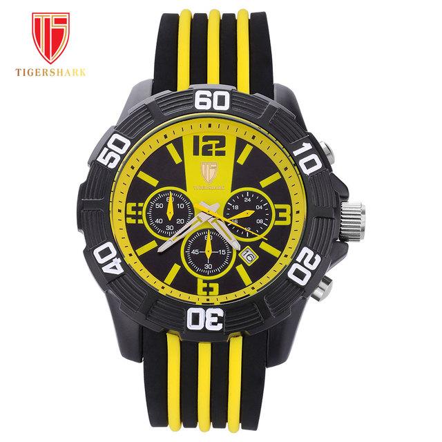 TIGERSHARK sports relógios men quartz watch chronograph data 30 M waterproof rubber band relógios de pulso reloj hombre montre homme