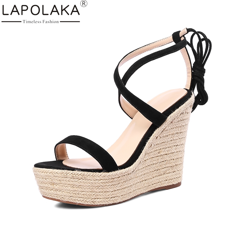 LAPOLAKA Kid Suede Genuine Leather Wedges High Heel Woman Shoes Cross Strap Solid Rome Women Shoes Summer Sandals new women sandals low heel wedges summer casual single shoes woman sandal fashion soft sandals free shipping